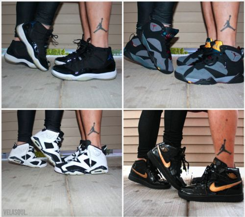 me and my bf took a pic like this a while ago and my feet are a size 6 and hes a 12... but yah it came out cute
