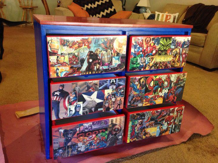 Decoupage: avengers them dresser using old comic books.