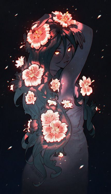 A spirit covered with flowers at dusk