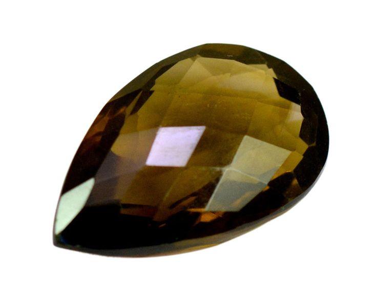 37ct Rare Natural Smokey Quartz Pear Checkerboard Faceted Loose Gemstone on ebay