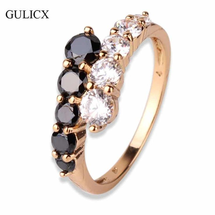 Fashionable Engagement Ring Gold-colored Black White Crystal Zirconia //Price: $10.95 & FREE Shipping //     #stylish
