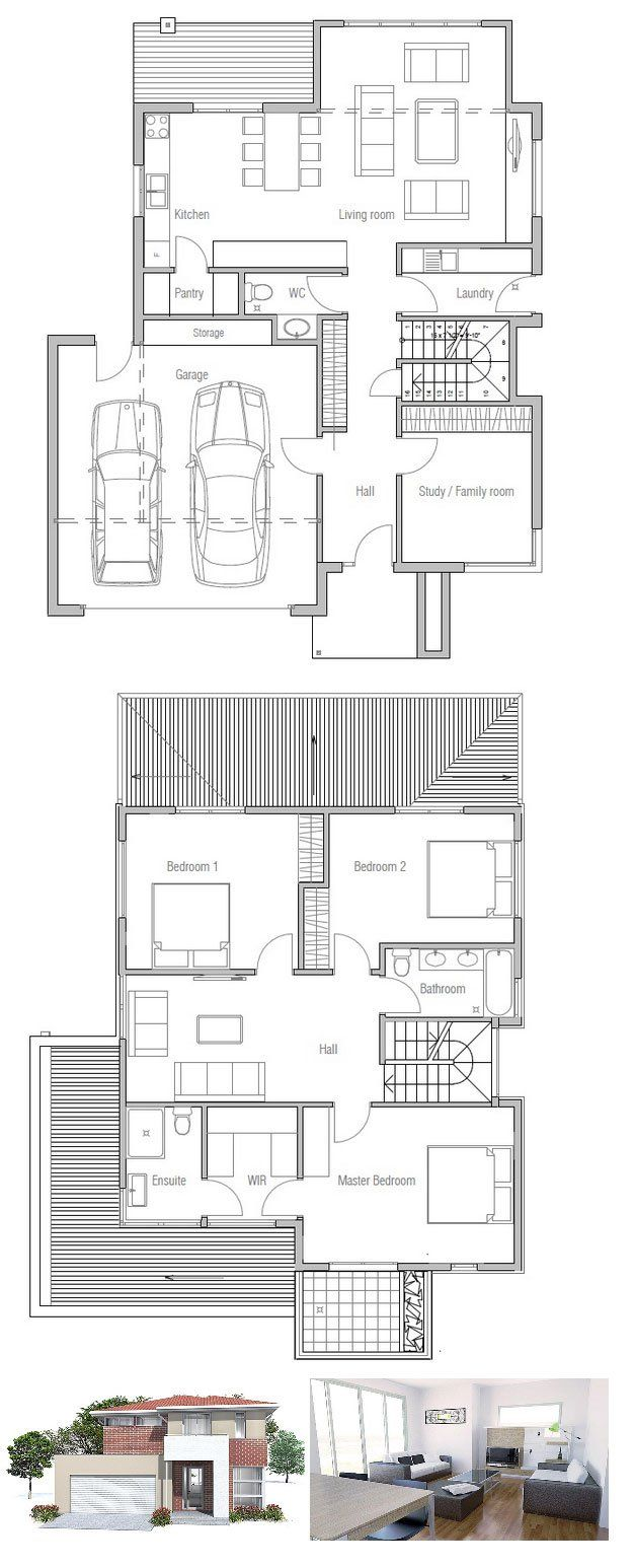 Very Popular Small House Plan with three bedrooms and two living areas Floor Plan Floor