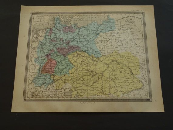 Original 1878 antique map of Germany and Austria by VintageOldMaps