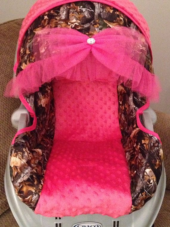 Custom Baby Girl Camo Carseat Cover by ElegantBabyRides on Etsy but I would have to do purple instead of pink