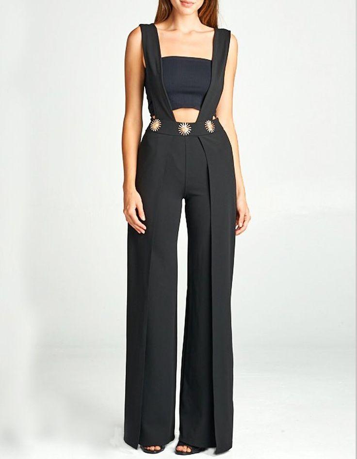 'Patricia' Black Wide Leg Pants with Suspenders
