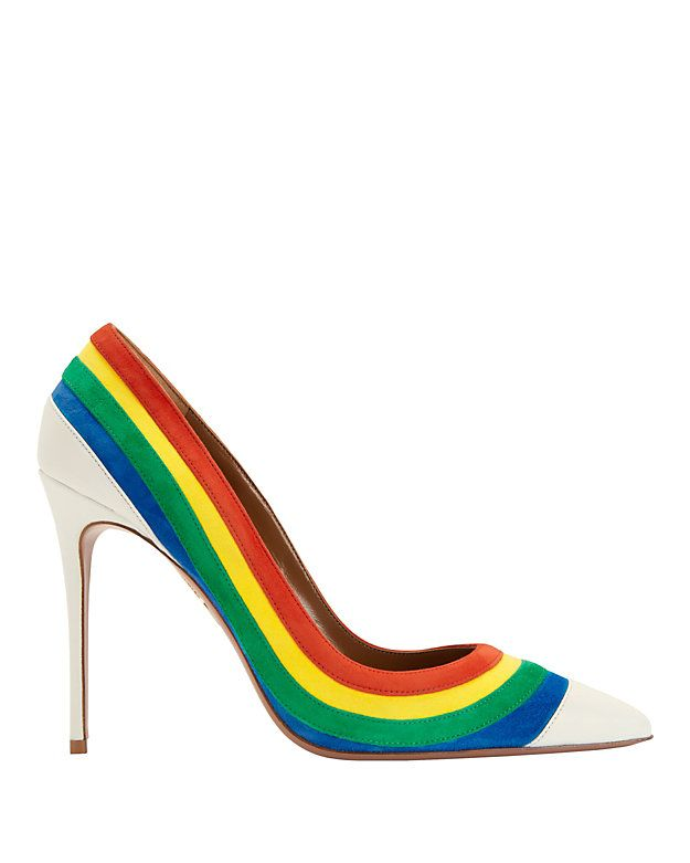 Aquazzura Rainbow Suede Pointy Toe Pump: Primary colored suede rainbow stripes outline the white leather pointy toe pumps. 4 1/2 heel. Leather soles. In white/rainbow. Made in ...