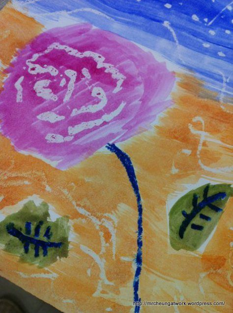 Kindergarten & Up! From Art to Science! Resist Painting with Water Color and Oil Pastel.  Made this in 5 minutes