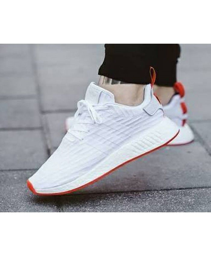 best loved 03f26 1c6ba Adidas NMD R2 Primeknit Nomad Snow White Red Trainers Sale UK