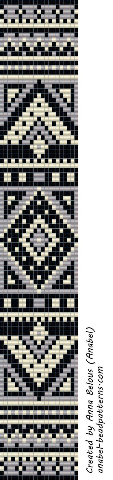 Схема монохромного браслета - станочное ткачество / гобеленовое плетение