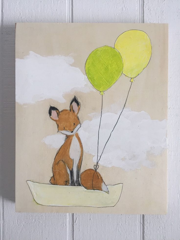 Fox and balloons by muralsbyshauna on Etsy https://www.etsy.com/listing/267895450/fox-and-balloons