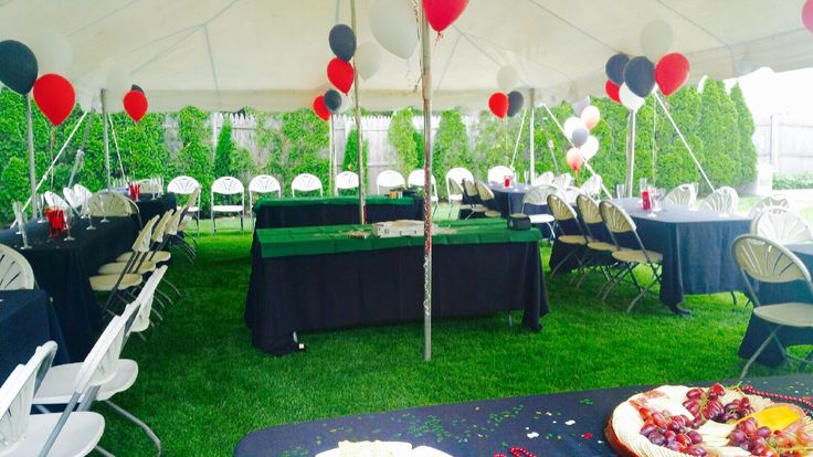 Boyfriend's surprise 25th birthday party! Casino themed. Red white and black was the main color scheme. Backyard tent which fit 60 people.