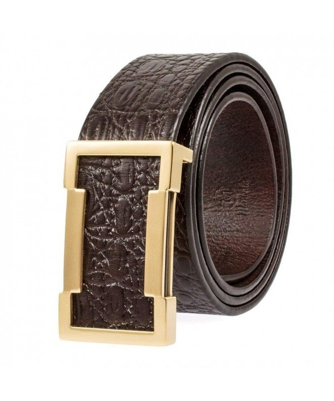 631c7d0c453b Genuine Leather Belt Designer Belts for Men Metal Buckle with a Gift Box -  Brown -