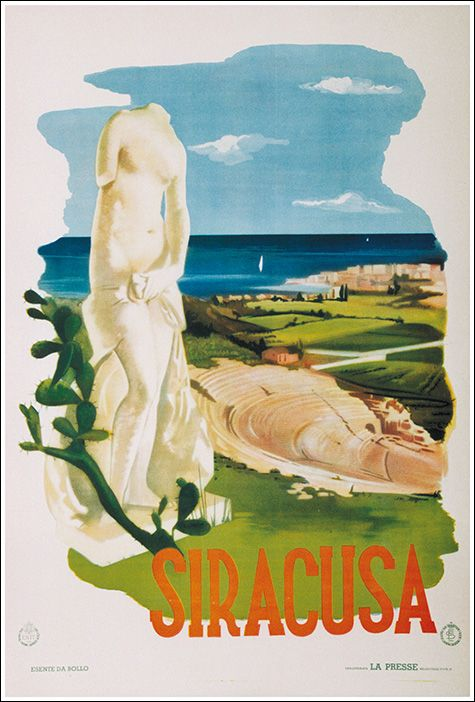 1935 Siracusa, Sicily, Italy vintage travel poster