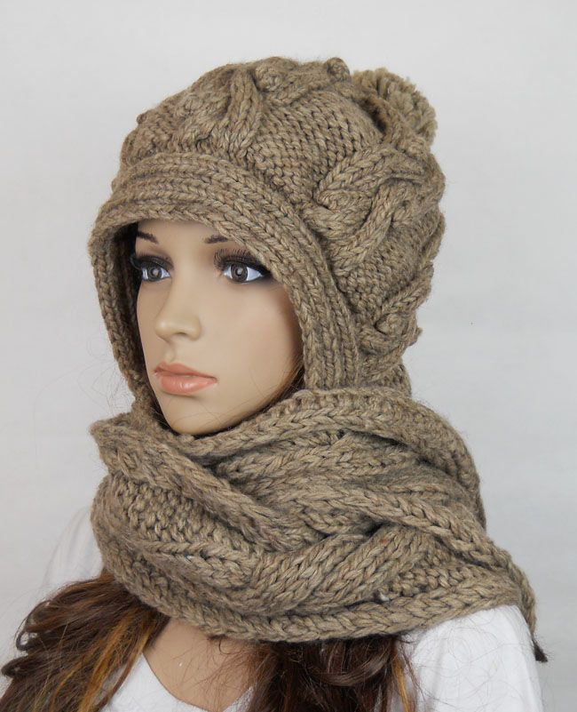 Handmade knitted crochet hooded scarf hat woman clothing wool