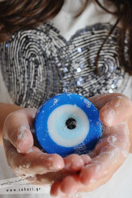 Σαπούνι μάτι, χειροποίητο σαπούνι για...καλοτυχία! Handmade evil eye soap .