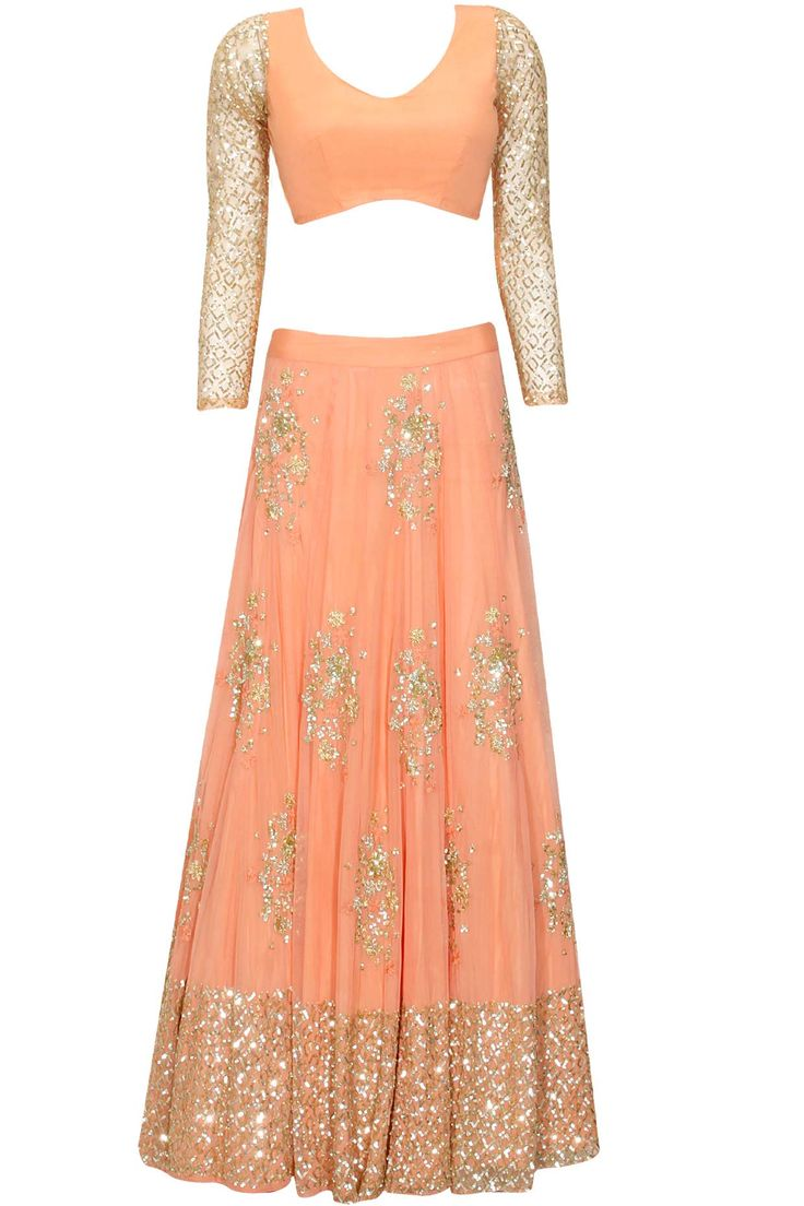 Coral and gold floral sequins embroidered lehenga set available only at Pernia's Pop Up Shop.