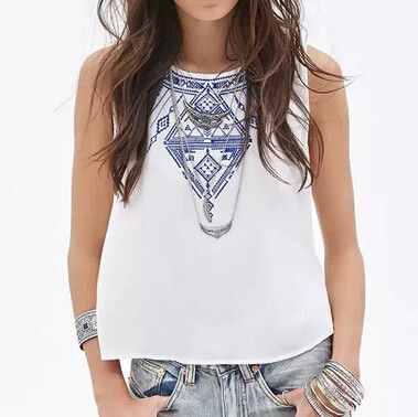 Women Embroidery Crop Tops, Casual Blouses, Black, White