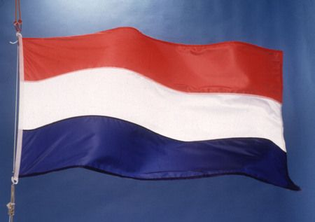the dutch national flag.  it isn't really clear why these colors were chosen. this flag is being used since the 15th century. it being used at special occasions like: kingsday, a school graduate or on the memorial day. it depends on the occasion in wich the way the flag is hanged on the pole.