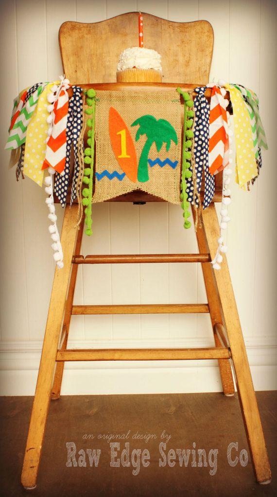 Surfs Up Hawaiian Luau Birthday Age HIGH CHAIR by RawEdgeSewingCo