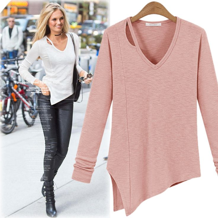 Plus Size Women tops Casual Autumn Shirt Solid Hollow Out V-neck Irregular  Ladies Long