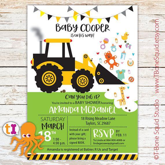 Construction, truck, baby, shower, invitation