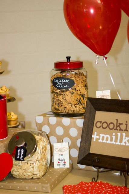 What a fun cookies and milk party!  See more party ideas at CatchMyParty.com!  #partyideas #cookiesmilk