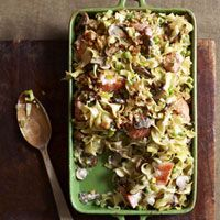 Salmon Noodle Bake ~ This veggie-packed version of tuna noodle casserole is loaded with chunks of seafood-counter salmon for a Mediterranean-inspired upgrade that's flavored with leeks, mushrooms, and herbs.