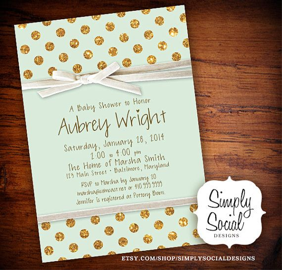 Mint and Gold Glitter Dots Bridal Shower Baby Shower Invitation with Creme Velvet Ribbon