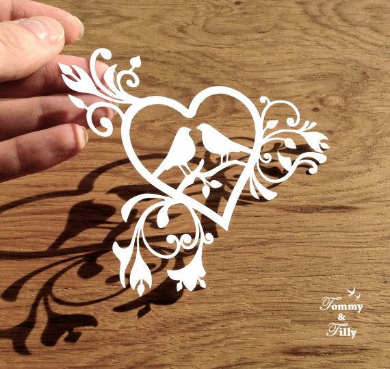 DIY Papercut Love Birds Heart Design - with PERMISSION TO SELL FINISHED CUTS Whether papercutting is your hobby or your business this