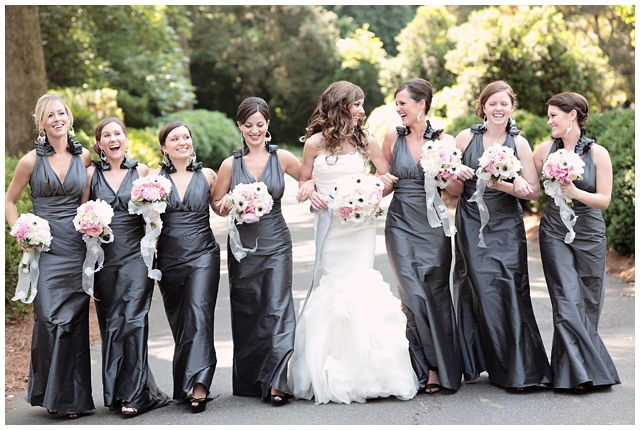 Must be a #ZTA wedding with those steel gray bridesmaids' dresses. Zeta Tau Alpha