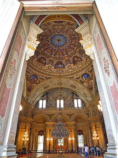 This gives you an idea of the immense size of the Dolmabahce Palace Istanbul Turkey reception room