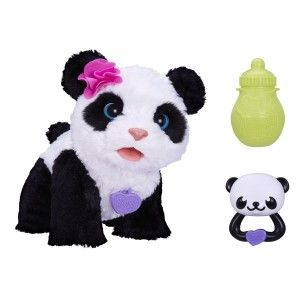 Pom Pom My Baby Panda Pet Is this not the cutest face EVA????   She responds to voices as well as to her rattle and her bottle, she makes sort of babyish mewling sounds. http://bit.ly/1AeSvbF