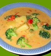 Gesta zupa z brokułami i żóltym serem