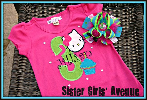Hello There Kitty Personalized Birthday Shirt by SisterGirlsAvenue: Personalized Birthday, Birthday Shirts, Kat Personalized, Boutiques Bows, Birthdays, Kitty Kat, Hello Kitty Outfits, Kya Birthday, 30 00