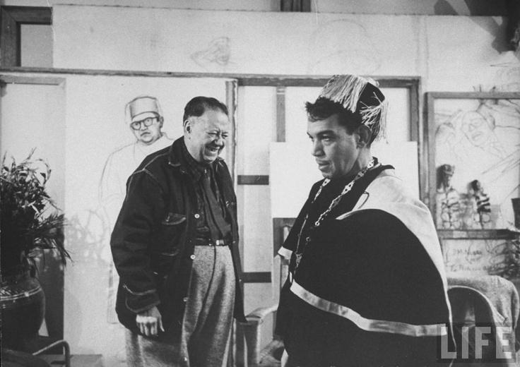 Diego Rivera & Mario Moreno (Cantinflas) in his studio