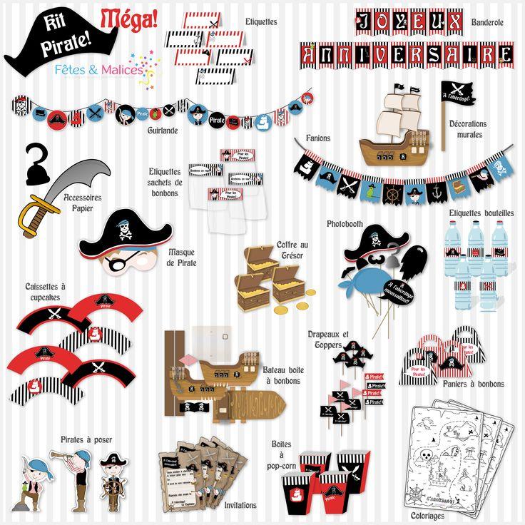 Un anniversaire Pirate! (Idée déco, kit à imprimer)   Fêtes