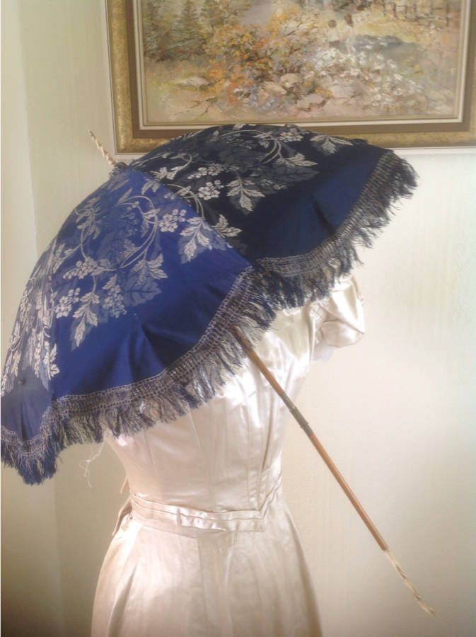 A Gorgeous Decorative Silk Victorian Parasol circa 1880