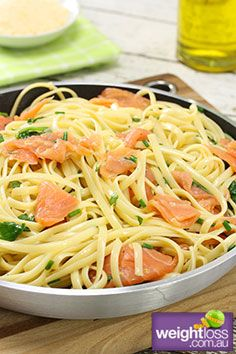 Healthy Fish and Seafood Recipes: Smoked Salmon Linguine. #HealthyRecipes #DietRecipes #WeightlossRecipes weightloss.com.au