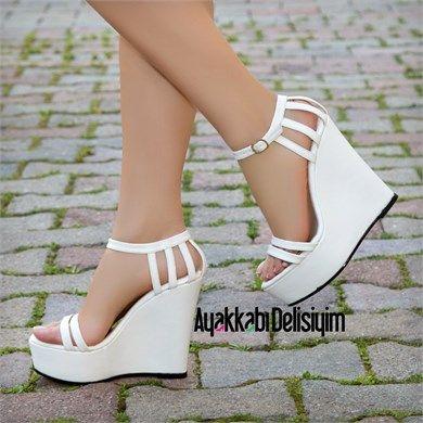 Falsoni Beyaz Kafesli Dolgu Topuklu Gelin Ayakkabısı