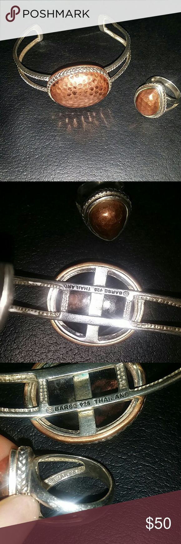 Barse 925 Silver bracelet and ring set. Silver and copper ring/bracelet. Ring sze 7.5 and bracelet one size. Good condition. Barse  Jewelry Bracelets
