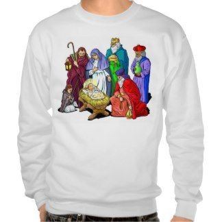 Colorful Christmas Nativity Scene Pullover Sweatshirt