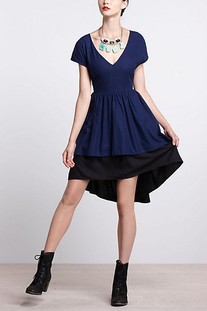 I might just dig this whole look, boots & all. Martin Dress, Navy - Anthropologie