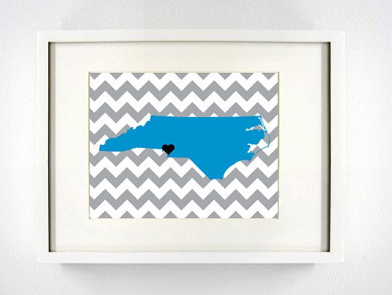 Charlotte North Carolina State Giclée Print  8x10   by PaintedPost, $15.00 #paintedpoststudio - Charlotte Panthers - NFL- What a great and memorable gift for graduation, sorority, hostess, and best friend gifts! Also perfect for dorm decor! :)