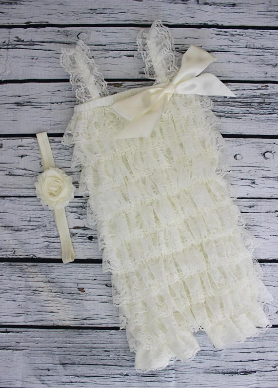 SALE Cake Smash Outfit 1st Birthday Lace Romper Ivory Cream