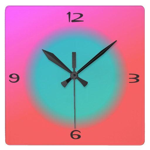 Blended Pink Orange, Green Centre>Kitchen Clock