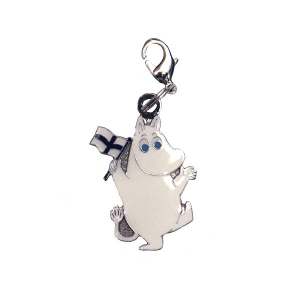 Clip On Charm - Moomintroll with Flag