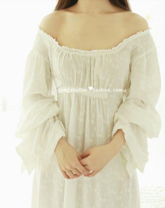 Бесплатная Доставка 100% Хлопок Prinsty Ночная Рубашка женская Ночная Рубашка Длинные Белые Pijamas Вышивка Пижамы…