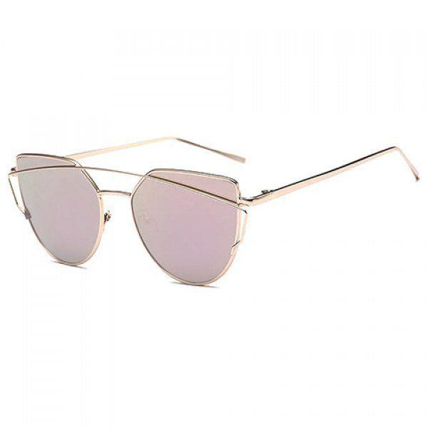 Chic Metal Bar Embellished Gold Sunglasses For Women