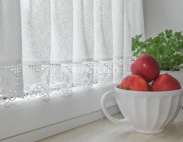 Gardinen - Gardinen Set 3 tlg Küche creme-weiss mit Rosen - ein Designerstück von ktnstudio bei DaWanda