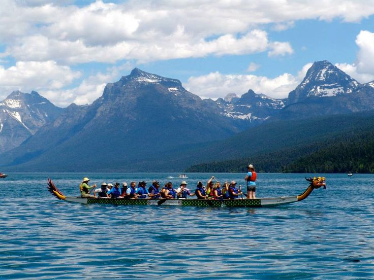 Dragon Boats in Glacier National Park #DragonBoats #MontanaMoments #GlacierNationalPark  Such an awesome venue for a race !!